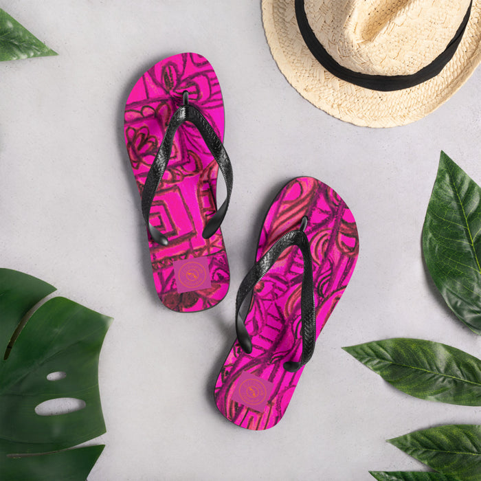 Street Art Collection: Barcelona boho style, pink and black flip flops. MADE TO ORDER