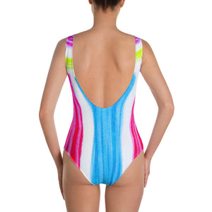 Barcelona beachstyle , one-piece swimsuit : Lucia  Collection (Bright pink blue and yellow ) - Eldragonfly Barcelona