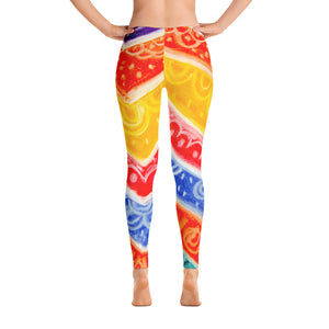 Anna Collection - Low waist leggings, with red, orange, blue, yellow and white .-MADE TO ORDER - Eldragonfly Barcelona