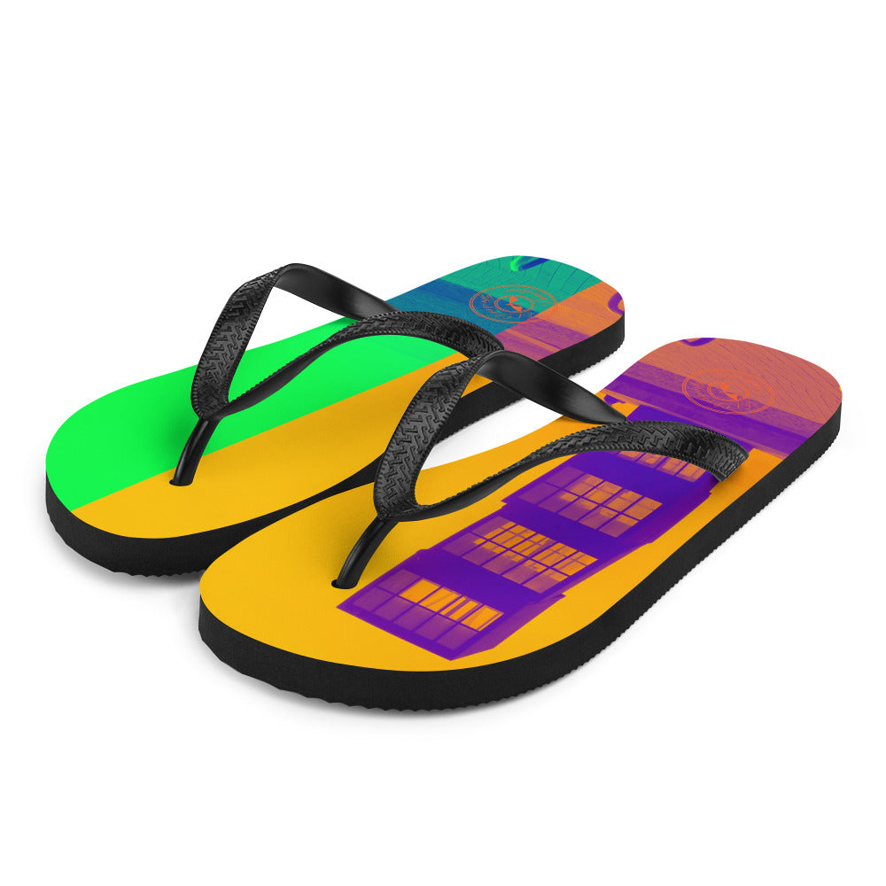 Pop art Barceloneta flip flops -yellow and green