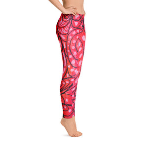 Señora Elena Mar Collection : Low waist, red leggings with a drawing of a mythical sea creature - Eldragonfly Barcelona