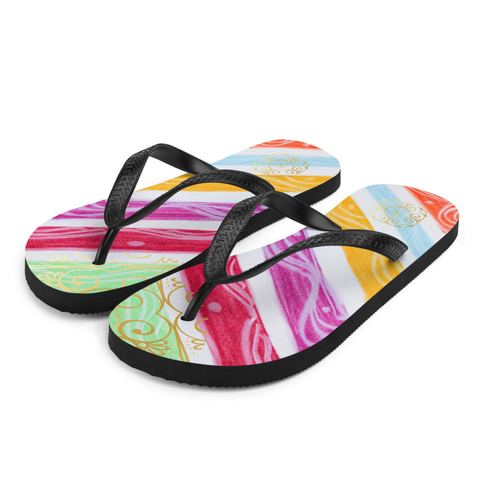 Julia del a Mar Collection: Four Colour tribal patterned design flip flops. (numero 5) MADE TO ORDER