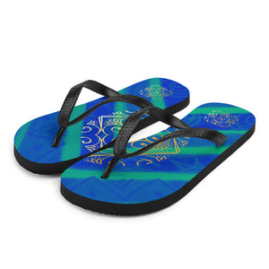 Fabiana collection: Unisex flip flops  with a Mediteranean blue and truquoise color. MADE TO ORDER