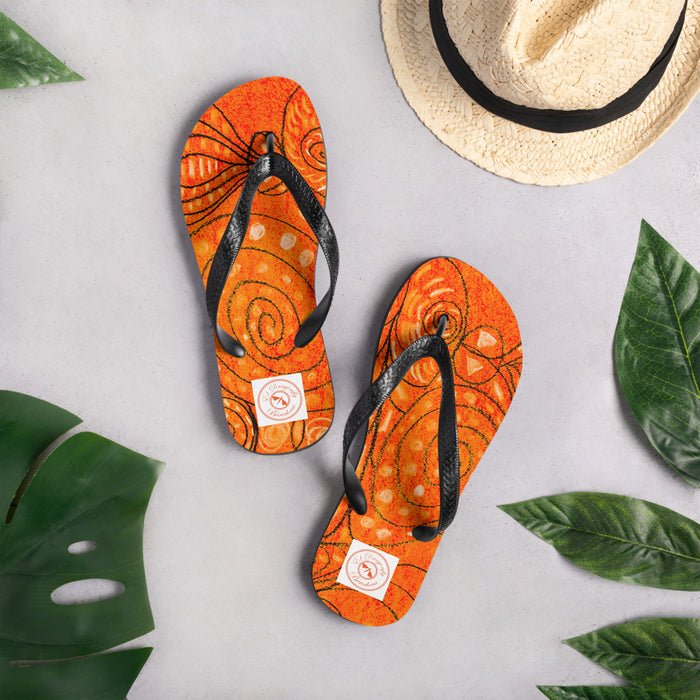Eldragonfly Flip-Flops : Med. Sea monster Collection - orange