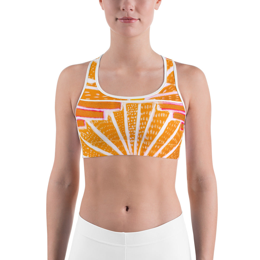 Barcelona beach , Yoga , Sports bra, with a yellow art deco design - Eldragonfly Barcelona