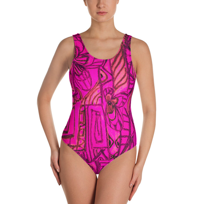 Barcelona beachstyle, Womens , one piece swim suit : Señora Perla Collection -bright pink