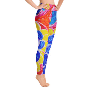Natalina Collection: High waist leggings with with an artistic Mediterranean flower print - Eldragonfly Barcelona