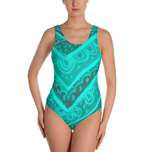 Barcelona beachstyle , one-piece swimsuit, Clara Collection - turquoise - Eldragonfly Barcelona