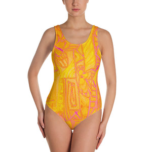 Señora Perla Collection :Barcelona beachstyle, womens yellow and orange, one piece swim suit. MADE TO ORDER - Eldragonfly Barcelona