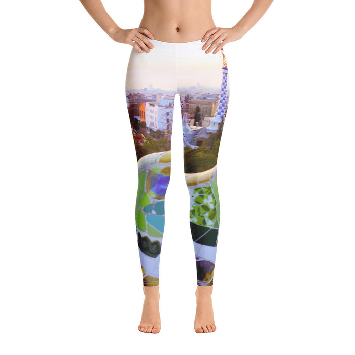 Parc Güell collection: Low waist leggings, on a white background. MADE TO ORDER