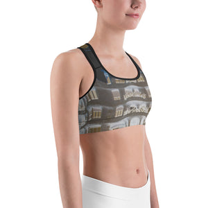 La Pedera Collection : Grey sports bra with a photographic style print. MADE TO ORDER - Eldragonfly Barcelona