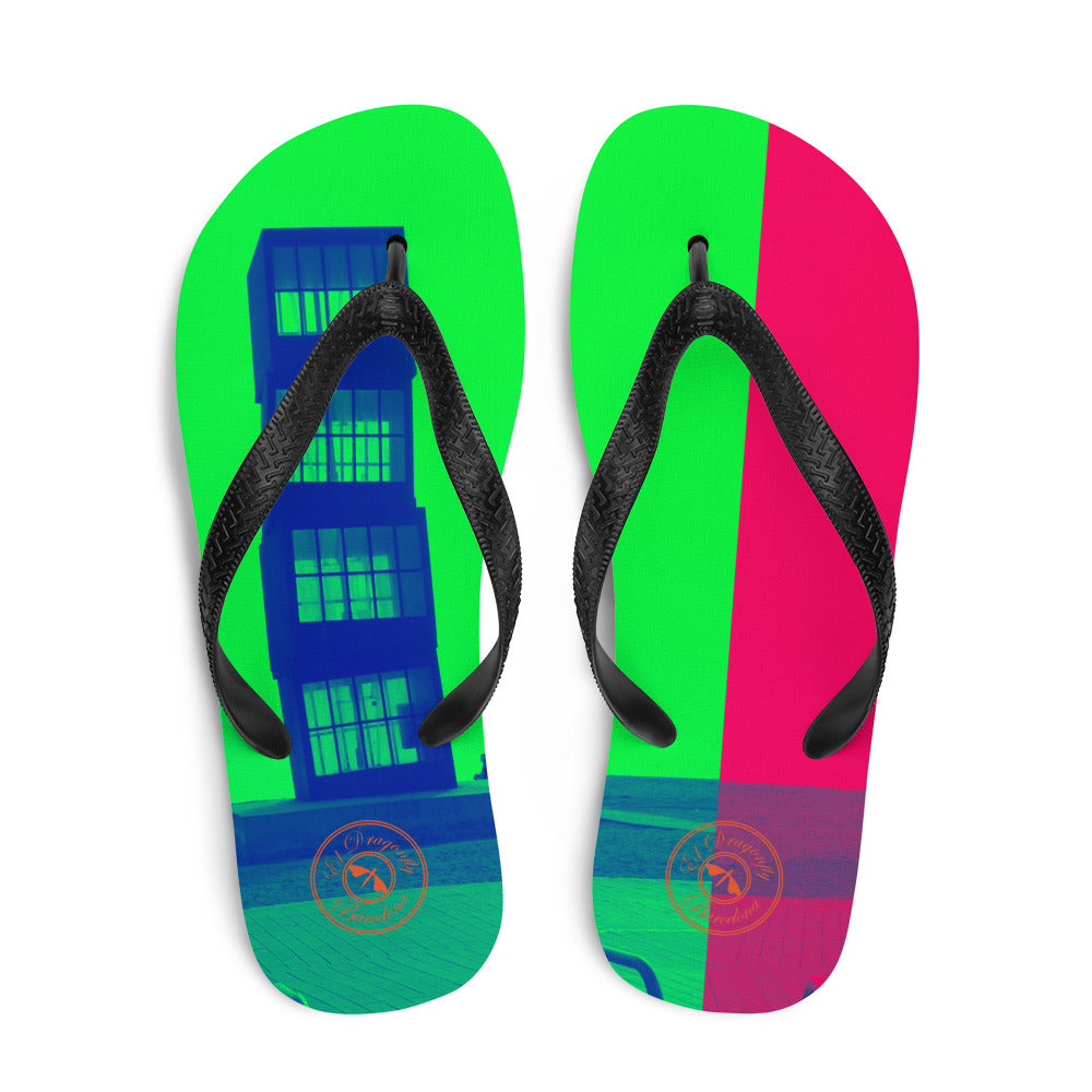 Pop art Barceloneta flip flops -green and pink