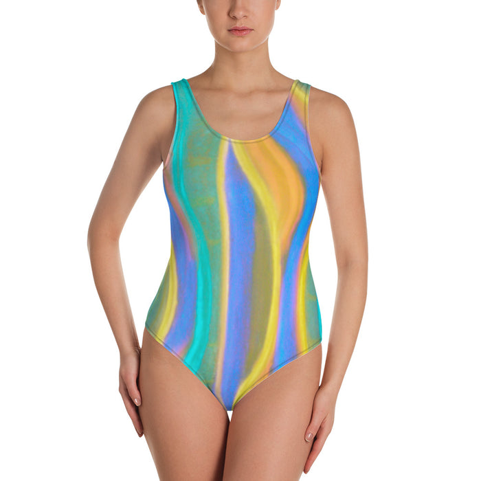 Paulina Collection: Womens one-piece swimsuit with colourful spirals ,MADE TO ORDER