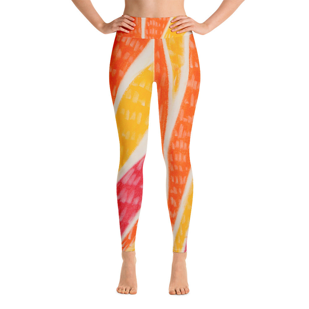 Señora Elena Flores Collection: High waist leggings with orange , yellow and red tribal design . MADE TO ORDER - Eldragonfly Barcelona