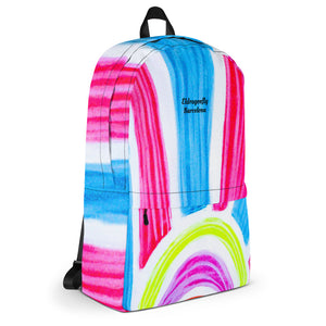 Señora Marti Collection: Barcelona surfstyle with pink, blue, white and yellow, backpack. MADE TO ORDER - Eldragonfly Barcelona