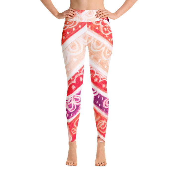 Anna Collection: High waist line with red , pink, purple and Cream, with tribal flowers - MADE TO ORDER
