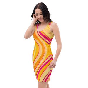 Martina Carla Collection: Beachstyle short dress, with a yellow swirl pattern. MADE TO ORDER