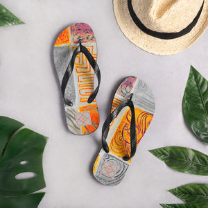 Barcelona beachstyle, patchwork flipflops  :orange and grey - Eldragonfly Barcelona