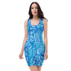 Natalia Collection: Beachstyle, blue  graffitti dress. Made to order