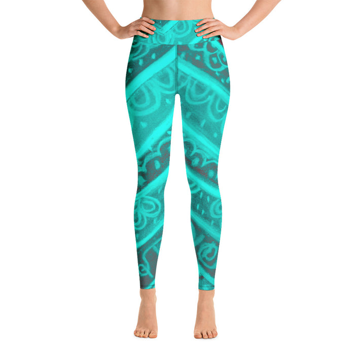 Anna Collection;High waist, turquoise,activewear leggings with a Mediteranean tribal print- MADE TO ORDER