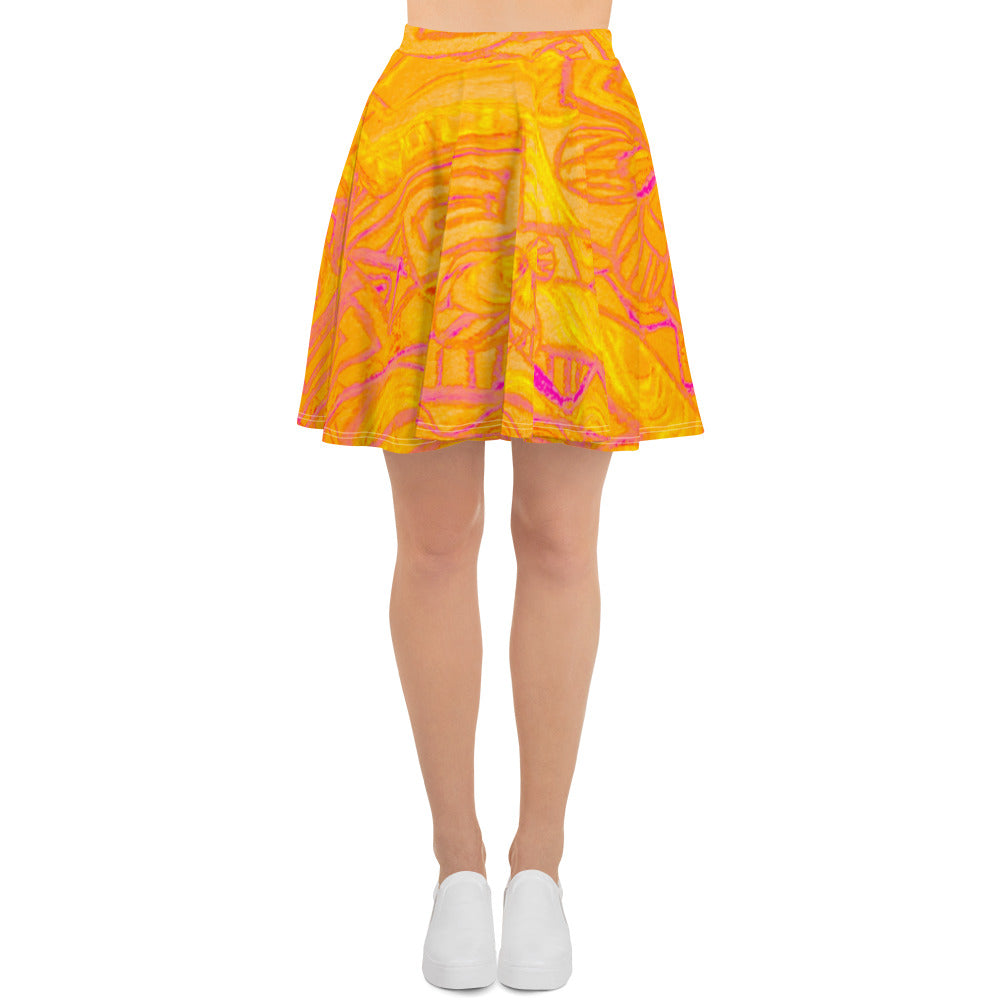 Barcelona beachstyle Womens skirts , with Eldragonfly design print : Señora Perla Collection -yellow - Eldragonfly Barcelona