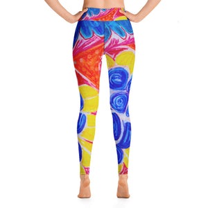 Barcelona beachstyle, Womens yoga Leggings : Natalina Collection - Mediterranean flowers - Eldragonfly Barcelona