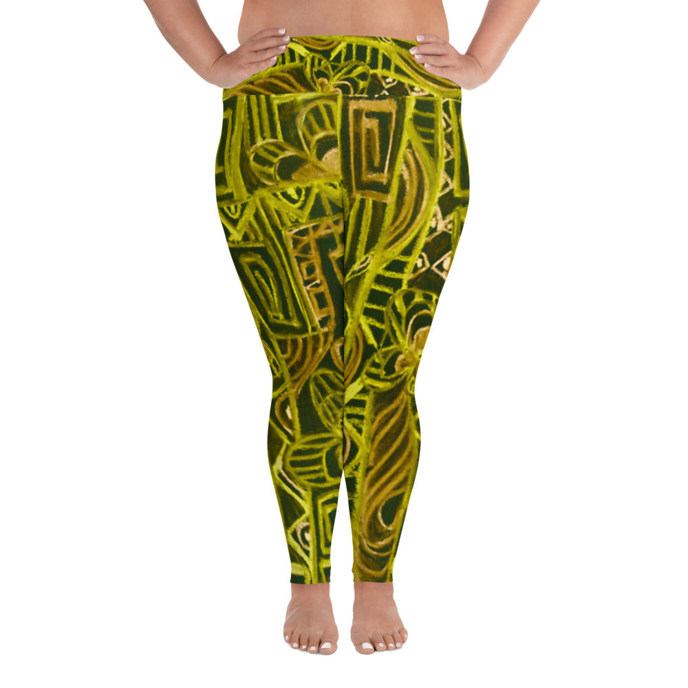 Barcelona beachstyle , all over Print Plus size Leggings : Señora Costa Collection- Yellow and  black - Eldragonfly Barcelona
