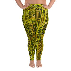 Señora Costa Collection: Low waist yellow and black  graffiti style plus size leggings . MADE TO ORDER - Eldragonfly Barcelona
