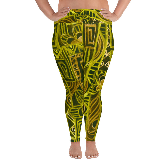 Barcelona beachstyle , all over Print Plus Size Leggings, Excluusive design from Eldragonfly : Señora Capote Collection -Yellow and black