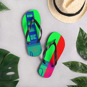 Barceloneta Pop art Flip flop Collection; Red and green flip flops with Barcelona beach: MADE TO ORDER - Eldragonfly Barcelona