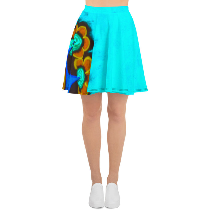 Barcelona beach style, Womens Skirt, with Eldragonfly print design  : Ofelia Collection -Blue