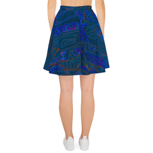 Barcelona beachstyle Womens skirts, with an Eldragonfly print design : Señor Perla Collection - dark blue - Eldragonfly Barcelona