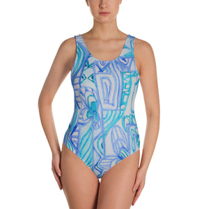 Señora Perla Collection :Barcelona beachstyle, womens turquoise and white , one piece swim suit. MADE TO ORDER - Eldragonfly Barcelona