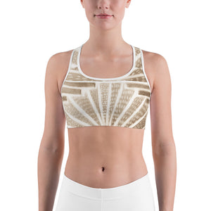 Señora Liliana Collection: Yoga , Sports bra, in an art deco  style ,with grey and white . MADE TO ORDER - Eldragonfly Barcelona