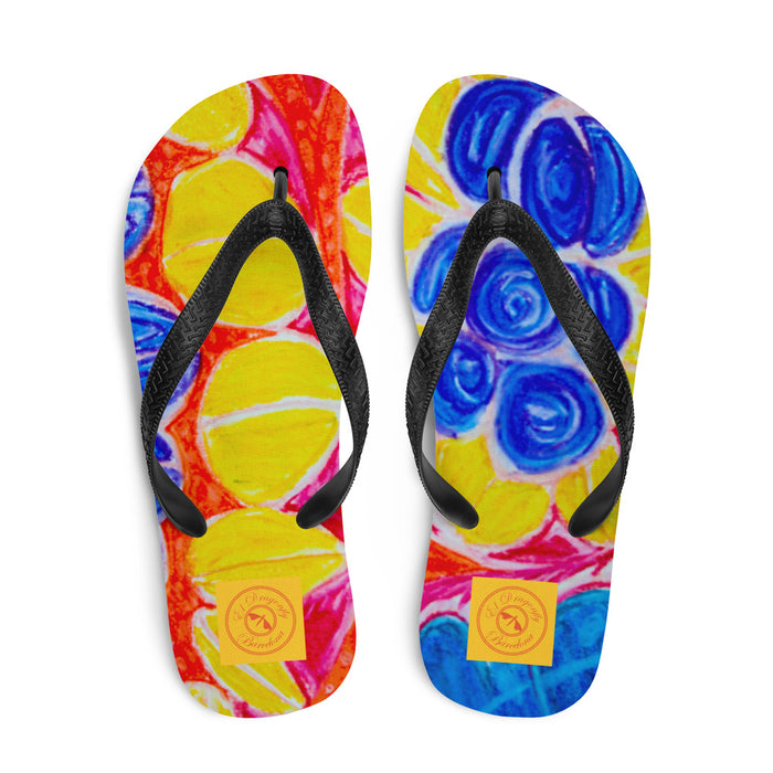 Natalina Collection: Barcelona beachstyle blue floral Flip-Flops. MADE TO ORDER