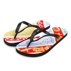 Ava Collection : Barcelona beach and surf style flipflops with blue , yellow and red  . MADE TO ORDER - Eldragonfly Barcelona