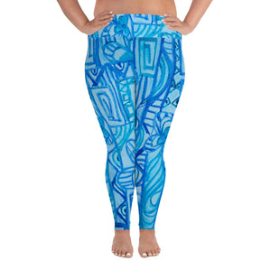 Barcelona beachstyle, all over Print Plus Size Leggings : Señora Costa Collection-Blue - Eldragonfly Barcelona