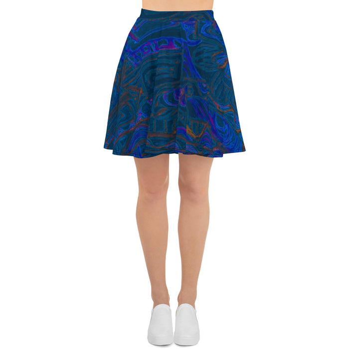 Barcelona beachstyle Womens skirts, with an Eldragonfly print design : Señor Perla Collection - dark blue