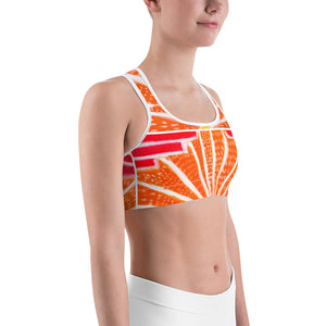 Señora Liliana Collection: Yoga , Sports bra, in an art deco  style ,with orange and red . MADE TO ORDER - Eldragonfly Barcelona