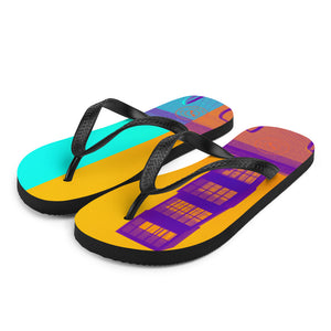 Pop art Barceloneta flip flops -yellow and blue