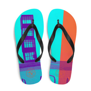 Barceloneta Pop art Flip flop Collection; A blue and orange flip flops with Barcelona beach background. MADE TO ORDER - Eldragonfly Barcelona