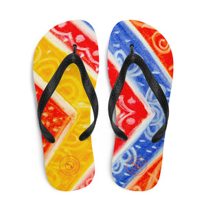 Ava Collection : Barcelona beach and surf style flipflops with a tribal floral design . MADE TO ORDER - Eldragonfly Barcelona