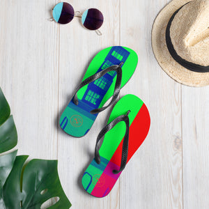 Pop art Barceloneta flip flops -red and green