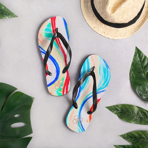 La Mar Collection: flip flops with white swirls . MADE TO ORDER - Eldragonfly Barcelona