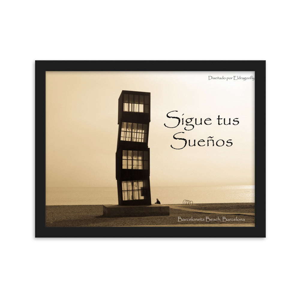 Barcelona beach image ,Framed matte paper poster :Barceloneta Beach Collection - Eldragonfly Barcelona