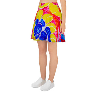 Barcelona beachstyle skirt, with an Eldragonfly print: Natalina Collection -Mediterranean flowers - Eldragonfly Barcelona