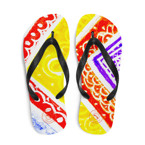 Ava Collection : Barcelona beach and surf style flipflops with red, yellow and purple . MADE TO ORDER- Eldragonfly Barcelona