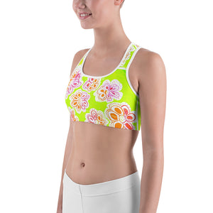 Barcelona beach , Yoga , Sports bra, in  lime green with orange and pink  Mediterranean flowers - Eldragonfly Barcelona