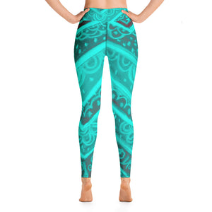 Anna  Collection; High waist line , in turquoise and grey with a floral tribal print- MADE TO ORDER - Eldragonfly Barcelona