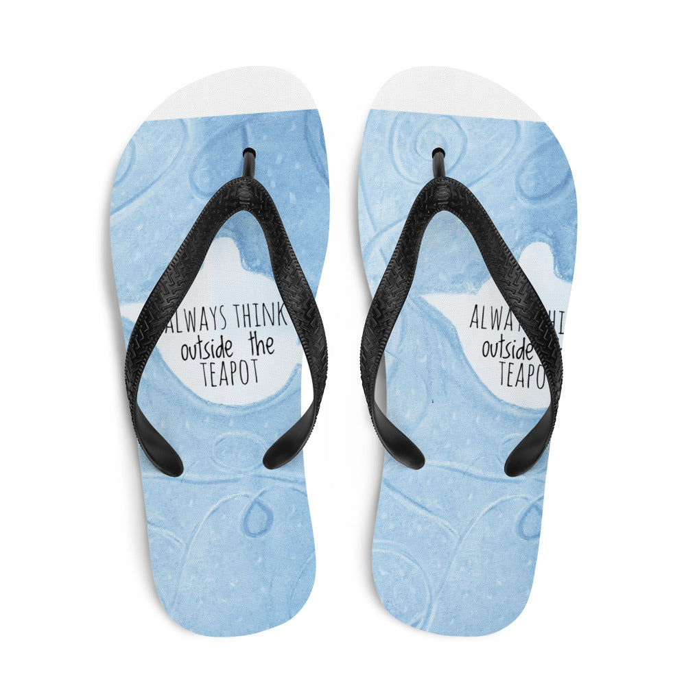 Barcelona beachstyle Flip-Flops : Always think outside the teapot:  turquoise - Eldragonfly Barcelona